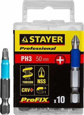 "Биты STAYER ""PROFESSIONAL"" ProFix Phillips, тип хвостовика E 1/4"", № 3, L=50мм, 10шт (арт. 26203-3-50-10_z01)"