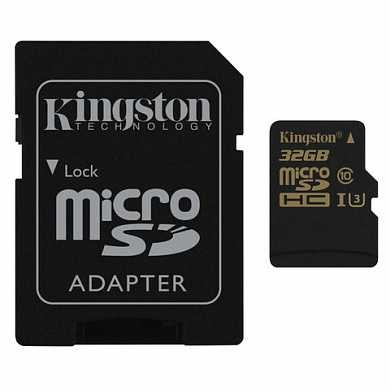Карта памяти micro SDHC, 32 GB, KINGSTON Gold, UHS-I U3, 90 Мб/сек. (class 10), с адаптером, SDCG/32GB (арт. 512309)