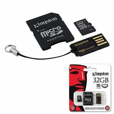 Карта памяти micro SDHC, 32 GB, KINGSTON, 10 Мб/сек. (class 10), два адаптера (SD, USB), MBLY10G2/32GB (арт. 511036)