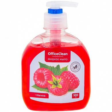 "Мыло жидкое OfficeClean ""Малина"", с дозатором, 300мл (арт. 230177)"