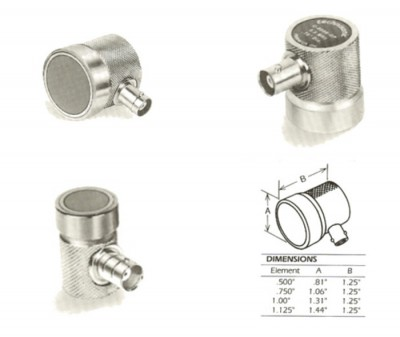 "Ultrasonic transducers:  Model:C-0204-GP;  2.25 MHz x 0.5"" Diameter (General Purpose) Contact BNC connector"