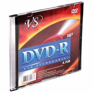Диск DVD-R VS, 4,7 Gb, 16x, Slim Case, VSDVDRSL01 (арт. 511550)